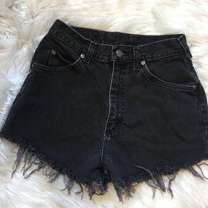 Vintage Lee Cutoff Jean Shorts Washed Faded Black
